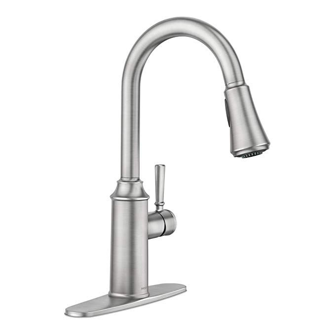 Moen 87801srs Conneaut One Handle Pulldown Kitchen Faucet With Reflex And Power Clean Spot Resist Stainless Kitchen Faucet Faucet Pulldown Kitchen Faucets