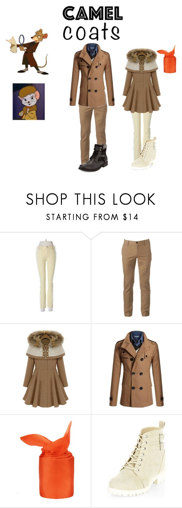 """""""Disney Camel Coats"""" by michdrpenguin ❤ liked on Polyvore featuring Free People, Urban Pipeline, New Look and Joe's Jeans"""