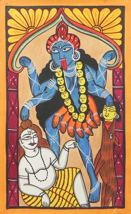 Goddess Kali - Bengal Folk Art or Kalighat Painting $46.00 only