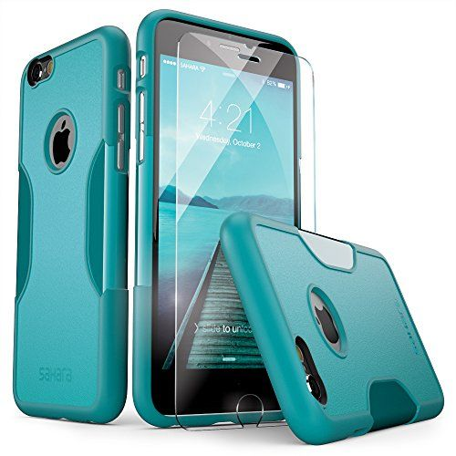 iPhone 6 Case, with Screen Protector Tempered Glass [Rugged Thin] Fit iPhone 6s & 6 - Teal SaharaCase® Sahara Case