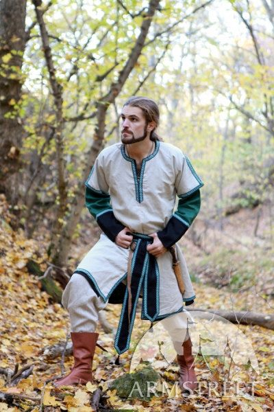 Medieval long mens tunic with overcoat  Elegant flax linen mens set. Actually, this garb rings a bell for early medieval costume, though it certainly has fantastic origin. Its made of 100% natural linen with trim on the sleeves, neckline and hem. Long trimmed belt is included. This attire is the great opportunity to create bright character at any medieval or fantasy event and beautiful set as well.  Tunic can be made of green, wine red, brown, blue linen. Overcoat can be made of natural…