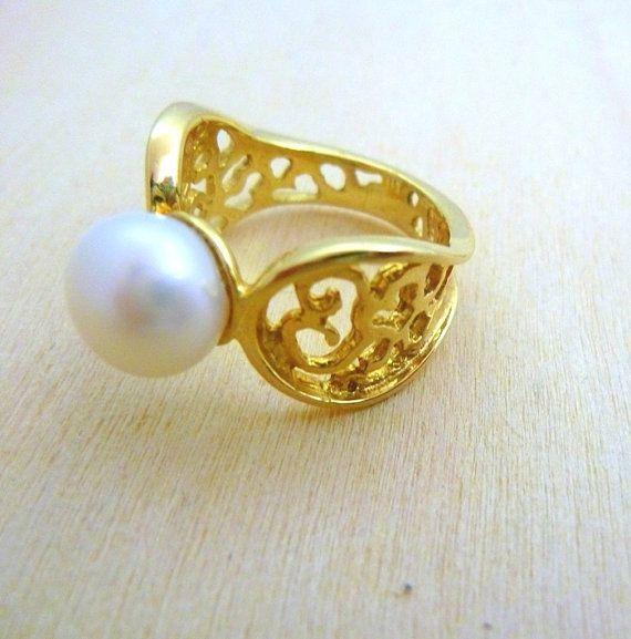 Gold 14K Natural Pearl designer  Ring hand made