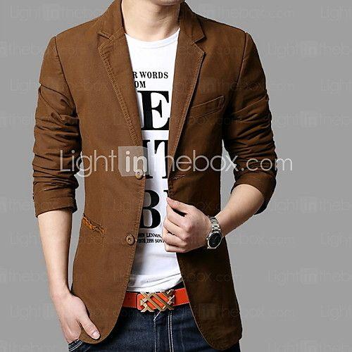 de los hombres de talla grande sólido negro / amarillo chaqueta / marrón, botton de manga larga informal muesca solapa 2016 - $49.99