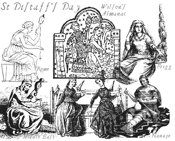 St. Distaff Day - In times past, January 7th, the first free day after the twelve of Christmas was known as St. Distaff's Day