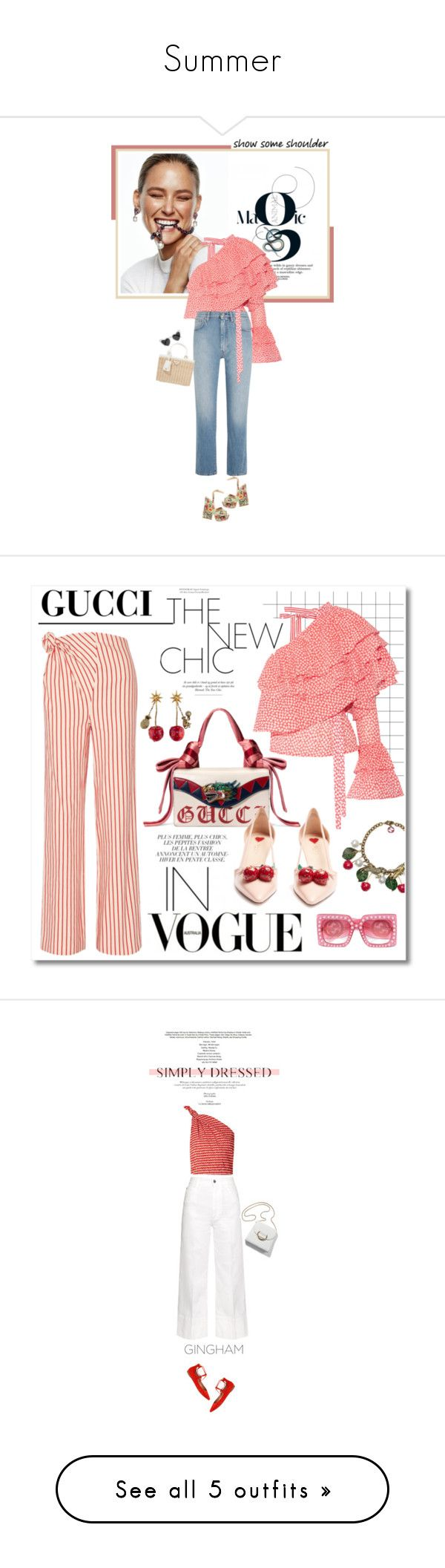 """""""Summer"""" by richiolle ❤ liked on Polyvore featuring Sergio Rossi, Baku, Rosie Assoulin, Totême, Prada, Yves Saint Laurent, Gucci, STELLA McCARTNEY, StyleNanda and Sigerson Morrison"""