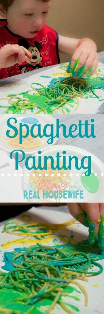 Spaghetti painting! Super simple kids activity but great sensory fun!