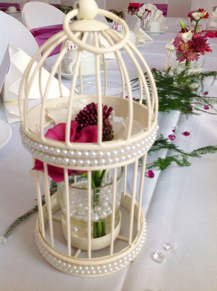Zauberhafter Vogelkäfig mit Perlen; Hochzeitsdeko Verleih durch ...