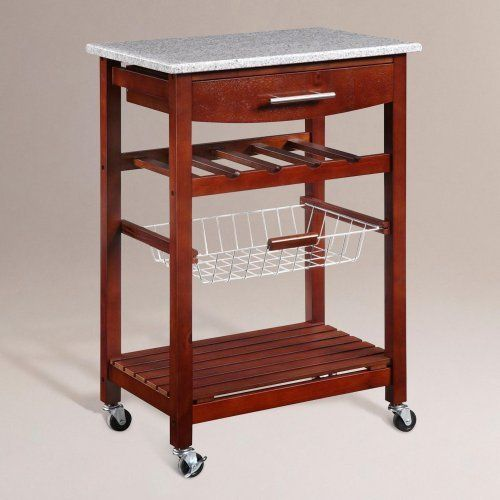 Wenge Newhall Kitchen Island - World Market by Cost Plus World Market. $114.99. Expand your kitchen workspace without major expense with our Newhall Kitchen Island with a wenge finish. Featuring an elegant granite top inlay, the island is complete with chrome finished hardware, two towel hooks, a slide out wire storage basket, one fixed shelf, four bottle wine storage rack, and a spacious pull out storage drawer. Heavy-duty locking rubber casters make it simple to...