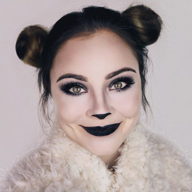 Cute and simple panda bear makeup that's perfect for halloween!