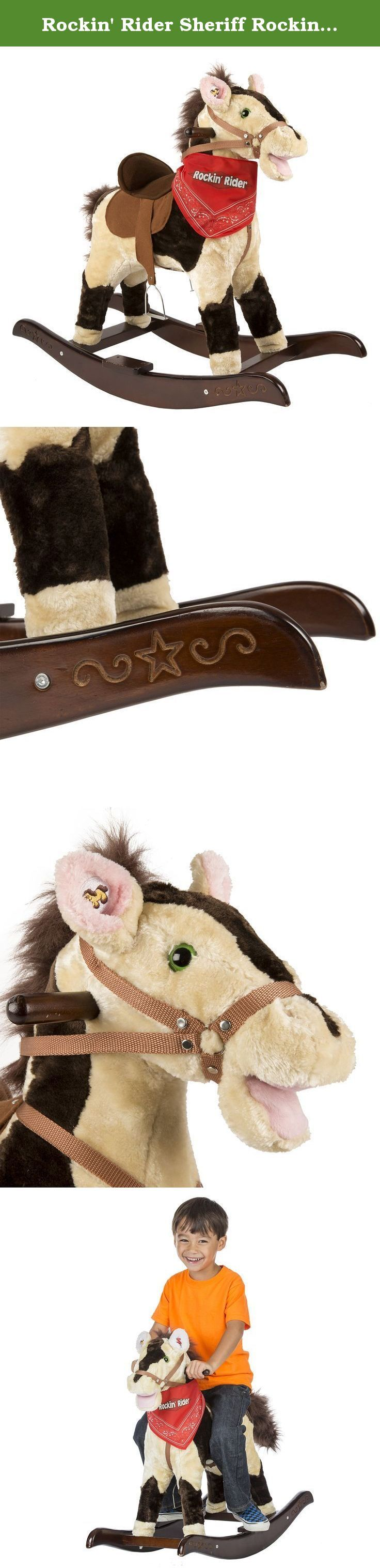 """Rockin' Rider Sheriff Rocking Horse. Sheriff is a classic rocking horse that features soft two-tone plush over a lightweight and sturdy foam core. He sits on a beautiful wooden base with detailed engraving and a step. With a press of his ears he sings the exclusive """"I'm a Little Pony"""" song, says 6 fun phrases, and makes realistic horse sounds. Your child will be amazed by Sheriff's moving mouth and swishing tail and removable bandana they can wear! Other features include full-body nylon..."""