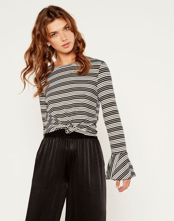 Striped Flare Sleeve Top Black/white