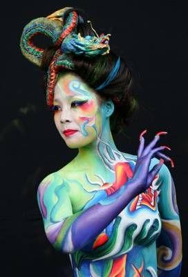 Dragon Lady: Colors Body, Paintings Festivals, Body Artpaint, Faces Paintings, Body Paintings, Paintings Body, Dragon Bodypaint, Paintings Faces, Bodypaint Festivals