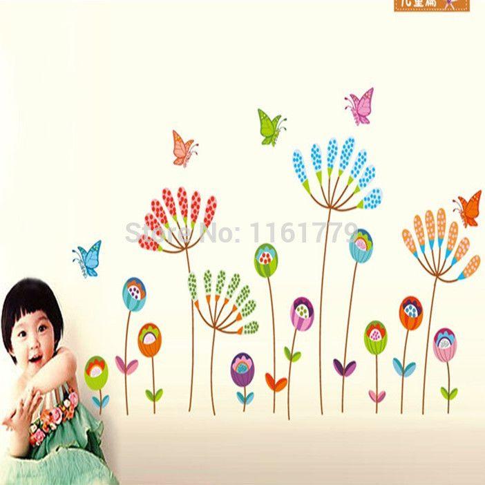 2013 Новый прибытие виниловые наклейки Мультфильм цветы и бабочки декора дома наклейки для стен для детей номеров JM8307