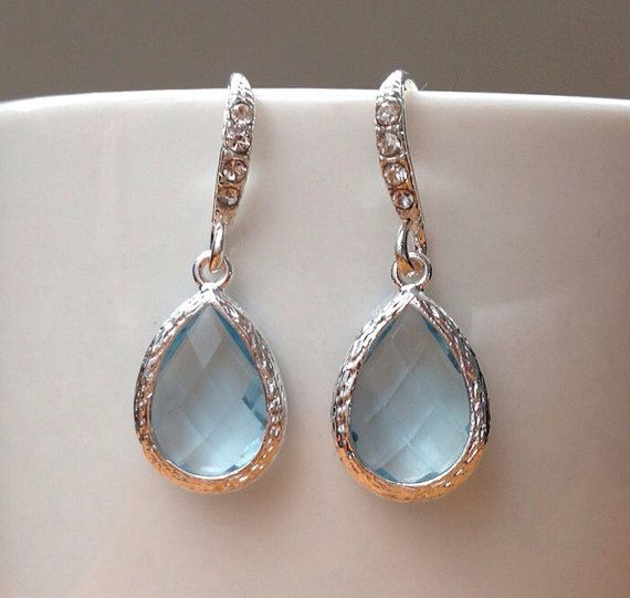 Stunning silver and baby blue framed crystal by PetalJewels