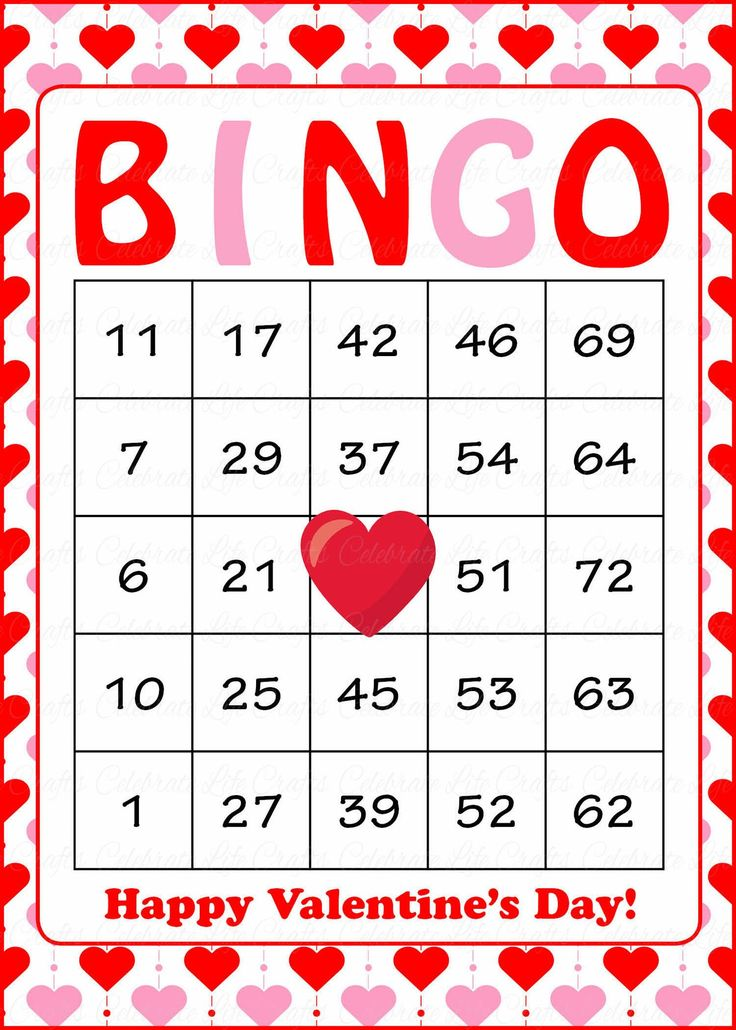 Valentineu0027s Bingo Cards   Printable Download   Prefilled   Valentines Party  Games   Red Pink Hearts