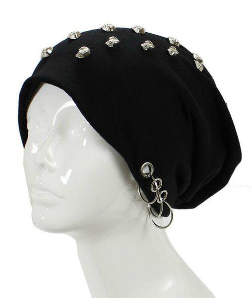 Unisex Goth Skull Studs Grommet Silver Ring Accent Beanie Hat - GoGetGlam  - 1