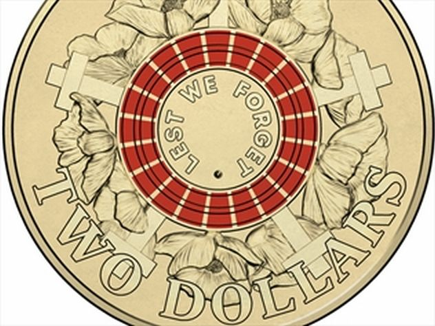 This $2 coin has been minted (for general circulation in 2015) to mark the 100th anniversary of the landing of ANZAC troops at Gallipoli during World War I. The coin has an image of poppies - symbolic of remembrance - among crosses similar to those that mark the graves of fallen soldiers, and the words 'Lest We Forget'.