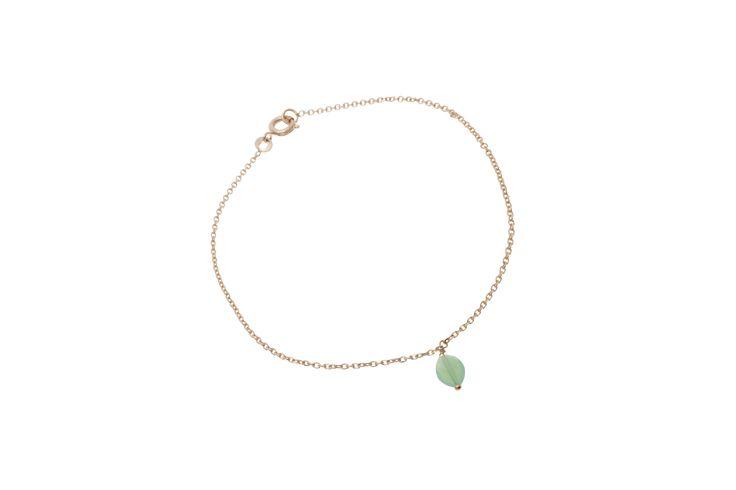 Bracelet de cheville By Johanne -  Chaine doré et tourmaline verte