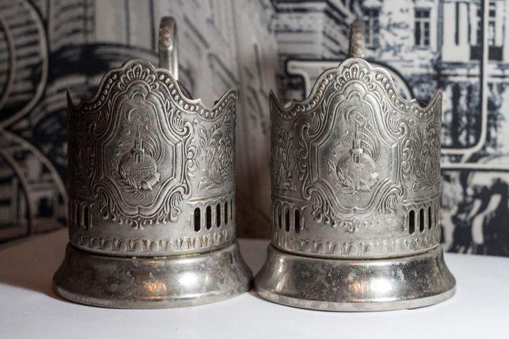 Lot of 2 Tea cup holder Soviet USSR Space Rocket Kremlin