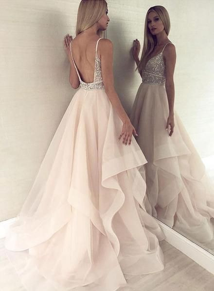 Champagne v neck tulle beaded long prom dress, evening dress 3