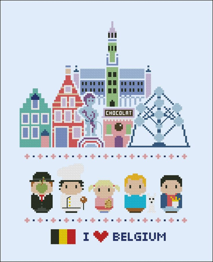 Belgium icons (big version) - Mini people around the world
