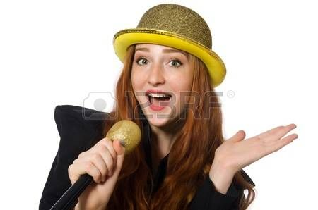 цилиндры котелки шляпы: Funny woman in karaoke isolated on white