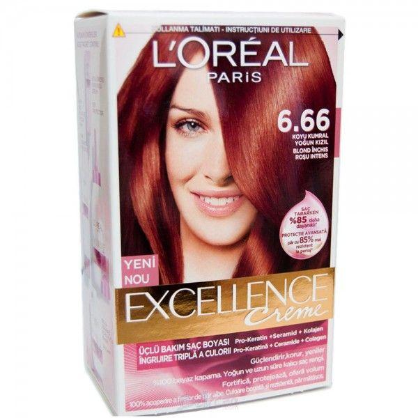 Loreal Excellence Creme Saç Boyası-6.66 Koyu Kumral Yoğun Kızıl