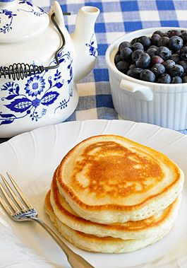 Who needs eggs? Pancakes  Ingredients 1 1⁄4 cups all-purpose flour 1 tablespoon baking powder 1 tablespoon sugar 1⁄4 teaspoon salt 1 cup non-fat or 1% milk 2 tablespoons vegetable oil 2 tablespoons water