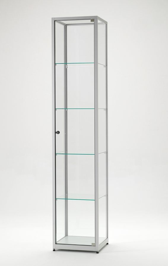 Hochwertige Standvitrine Silber Vitrine Glasvitrine Aluminium