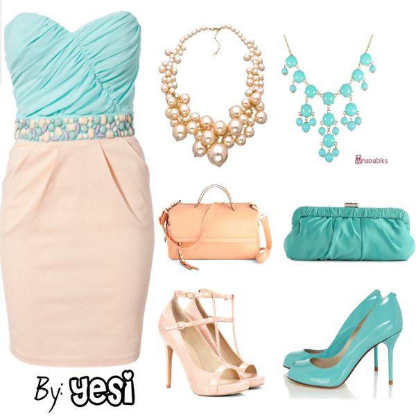 Look de vestido combinacion en rosa palo con azul cielo - Colores que pegan con el azul ...