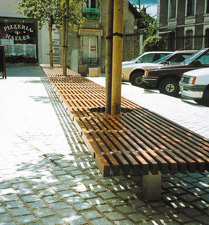Banco público / moderno / de acero inoxidable / de madera OCÉAN Concept Urbain