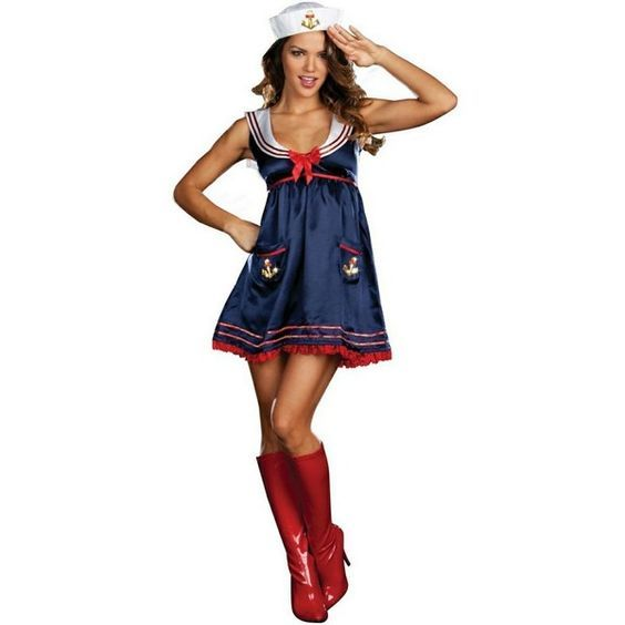 Sexy Sailor Mine Adult Costume ($53) ❤ liked on Polyvore featuring costumes, halloween costumes, multicolor, sexy adult halloween costumes, sexy women halloween costumes, sailor costume, sexy women costumes and womens costumes