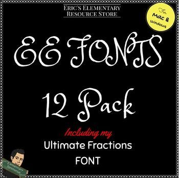 EE All Fonts with License by Eric's Elementary  Make your projects and assignments extra special with these 12 fonts. Included in the zip file is the Ultimate Math Keyboard. This allows you to create fractions with a few keystrokes.   Installation is simple...just download the file, unzip it (right click), and all your font files are right there. Included is a diagram that lays out the keyboard for the Math Fonts.  Included in the zip file is:  All Fonts License TOU Math Fractions Font Map