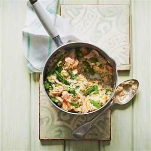 Asparagus and hot-smoked salmon risotto recipe. Make the most of seasonal asparagus and combine it with hot-smoked salmon in this risotto, for family meals and dinner parties alike.