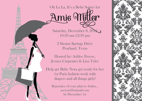 Paris Chic Baby Girl Shower Invitation 02 By OhSoFabulous On Etsy