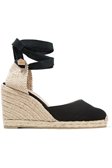 Wedge heel measures approximately 90mm/ 3.5 inches with a 15mm/ 0.5 inches platform Black canvas Ties at ankle
