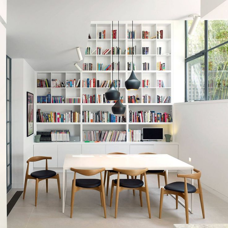 White IKEA Billy Bookcase and Extra Shelves in A Scandinavian Dinning Room
