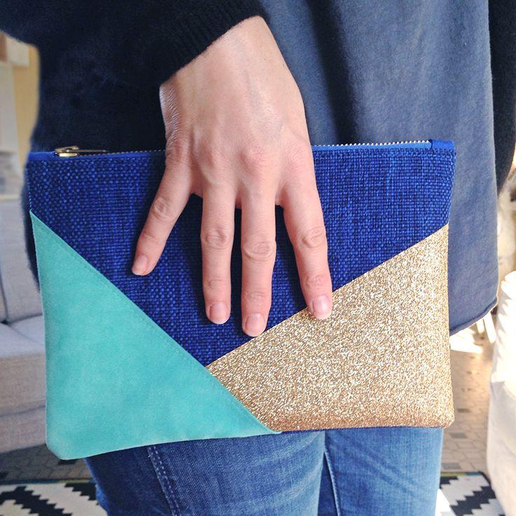 Une pochette en cuir et paillettes - DIY