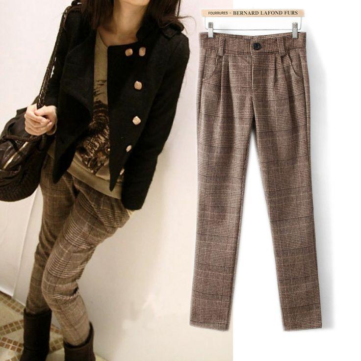 Сен женской линии британский стиль оригинальный одного диких толстый шерстяной плед брюки шаровары ноги толстые раздел брюки женщин - Taobao ...