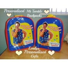 Lovely and Personalised Mr Tumble blue backpack £9.00 plus p+p (Personalised with fabric paint and covered in a fixing solution)