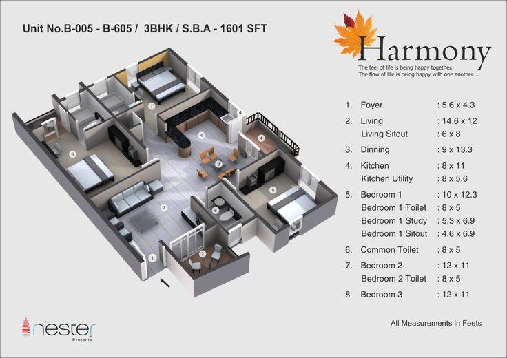3D Model of 3bhk falt of nester harmony of 1601SFT.