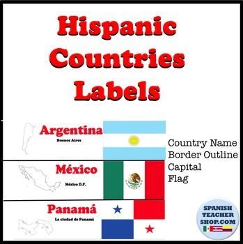 """The 20 Spanish-speaking countries are presented in these pre-made 2"""" labels that include the name of the country and capital, an…"""