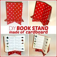 DIY Book Stand made of cardboard (to prop up halloween decor spell book)