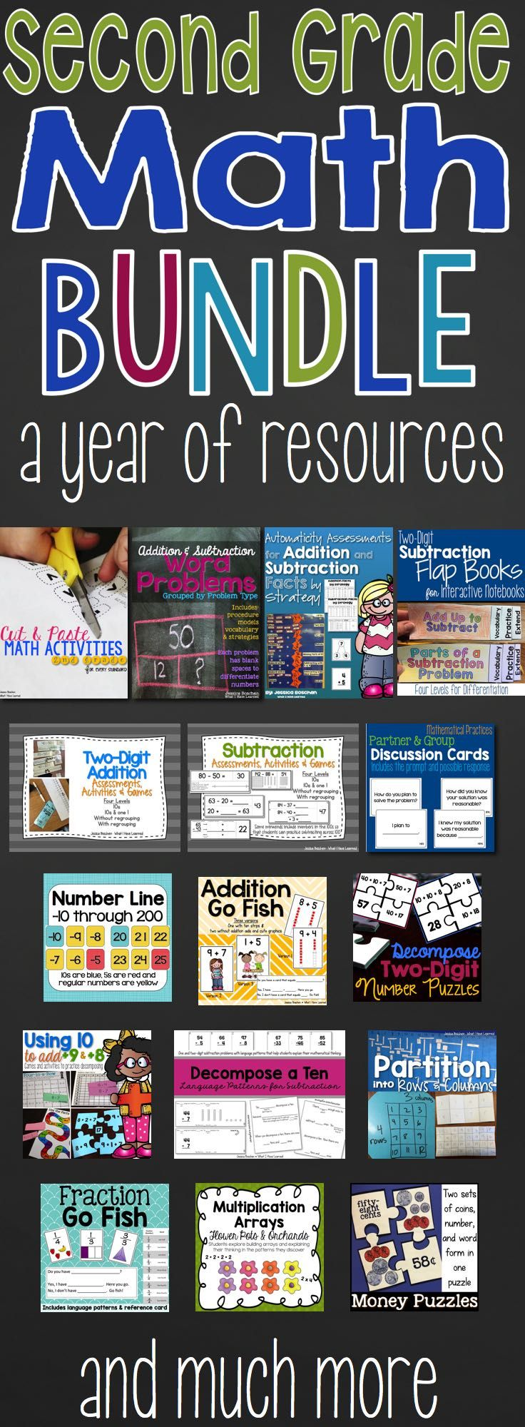 Second Grade Math BUNDLE is full of resources for your classroom. These are the same activities and games that I have used in my classroom for the past several years. Resources are arranged by season and unit and span the full year. Get them all at a severely discounted price. | Complete Math Curriculum | Common Core Math | Teaching Math | Elementary Education | Second Grade
