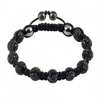 Black and Pink Shamballa Bracelet