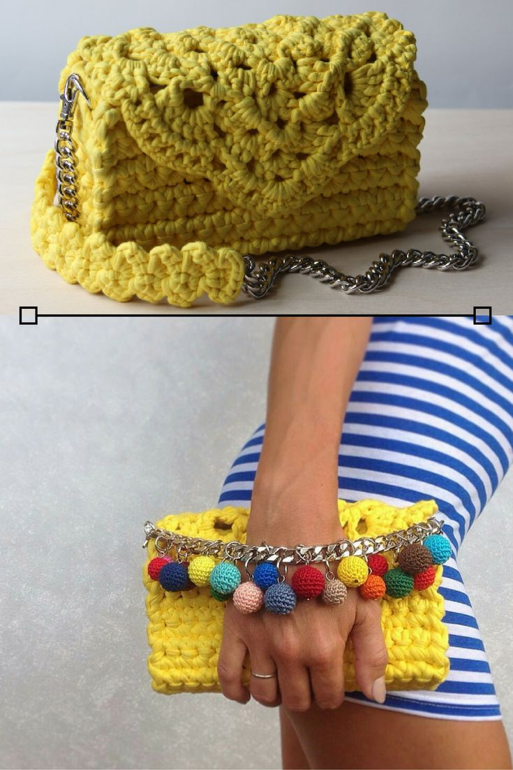 Black Friday - Cyber Monday Sale is going on! Little Yellow Handbag | Crochet Lace Handbag | Little Crossbody Bag | T shirt Yarn Crossbody Bag | Yellow Clutch Bag | Chain Clutch bag