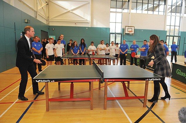 Prince William and the Duchess of Cambridge played table tennis at the homeless shelter