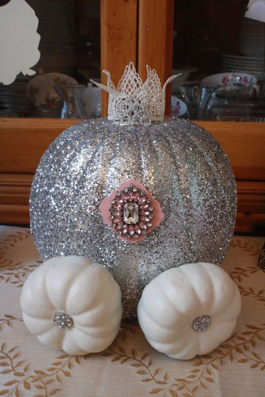 Cinderella Inspired Party Glitter Embellished Pumpkin Carriage