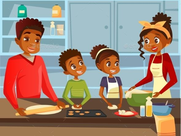 Afro American Black Family Cooking Black Families Afro American