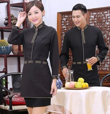autumn restaurant waiter uniform long sleeve waitress uniform food service uniform fast food restaurant uniform